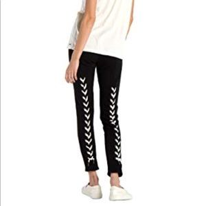 N:philanthropy reiko lace up sweats skinny black